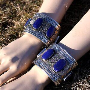 PAIR (Qty2) Turkman Tribe Handmade Cuff BRACELETs BellyDance LAPIS Lazuli 738d77