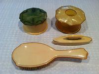 Antique Set of 4 YelLow PYRALIN Mayflower Vanity Accessories Powder Jar Brush