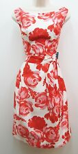 Jessica Howard Red Pink Ivory Floral Belted Fit & Flare Cocktail Dress 14 NWT