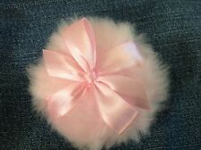 Soft Baby pink puff with a pink bow, 3 inch body powder puff
