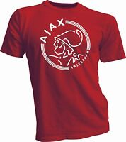 AFC Ajax Amsterdam Football Club Soccer T Tee Shirt  white handmade unisex RED
