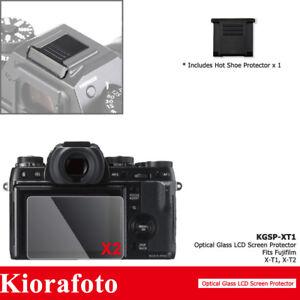 2PCS Tempered Glass Screen Protector + Hot Shoe Cover fr Fujifilm Fuji X-T1 X-T2