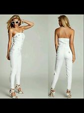 New GUESS Designer Sexy Cute Button Up White Overall Denim Romper Jumpsuit Sz 0