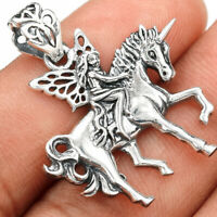 Fairy Riding Horse 925 Sterling Silver Pendant Jewelry SPJ2172