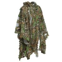 1X(Camo 3D Leaf cloak Yowie Ghillie Breathable Open Poncho Type Camouflage A6R8