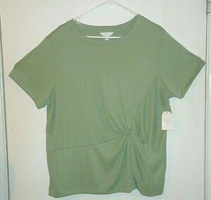Women's Time And Tru Twist Front Sandwash Shirt Blouse Green Size 2XL (20) NWT