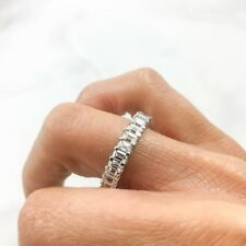 3.45 CT 18K White Gold Emerald Cut Diamond Eternity Band Engagement Ring F VS1