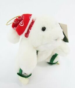 1998 Coca Cola Polar Bear Plush Holiday Ornament Christmas Coca-Cola