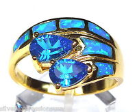 London Blue Topaz Blue Fire Opal Inlay 18k Yellow Gold Over Sterling Silver Ring
