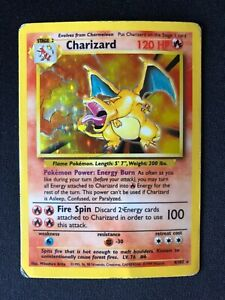 Charizard Base Set Unlimited Rare 1999 4/102 Holo Foil Pokémon Card HP