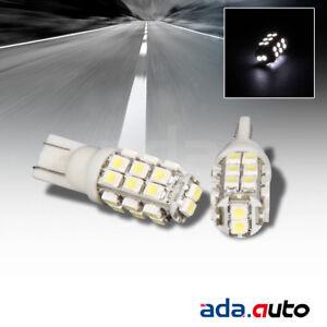 2 X WHITE 26-LED SMD 168/194/2825/T10 REAR LICENSE PLATE LIGHT/CITY/SIDE MARKER