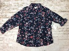 Charter Club Top 3x Plus Size Womens Blue Floral Print Button Down V Neck New