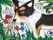 Cardigan Welsh Corgi in Garden Pop Art Print 8x10 Dog Collectible Cardigarden
