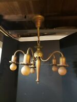 Antique 5 arm/light Crystal Chandelier With Canopy art deco victorian