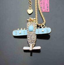 D628L    Betsey Johnson Shining crystal enamel Airplane Pendant Sweater Necklace