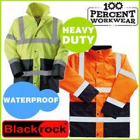 Pro Two Tone Waterproof High Visibility Work Safety Parka Coat Jacket Hi Vis Viz