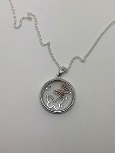 Sterling Silver Butterfly Pendant Necklace, 21 Inch Chain, Brand New