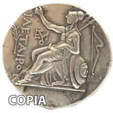 Riproduzione COPIA metallo moneta antica Grecia tetradracma testa Diana arco