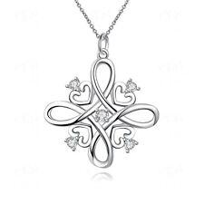 Women Fashion Jewelry En Forme De Cœur Plaqué Argent Zircon Collier Pendentif vente