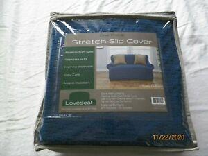 Stretch Slipcover Loveseat one piece Blue