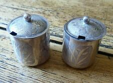 PAIR VINTAGE CHINESE STERLING SILVER CONDIMENTS with lids and glass liners (PM)