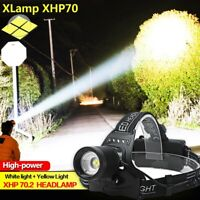 80000LM XHP70 LED Headlamp Headlight Reachargable Zoom Torch Lamp 18650 Light US