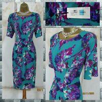 💜 M&S 'Hibiscus Proud' Floral Stretch Jersey Pleat Midi Dress  14-16 💜 *BNWT*