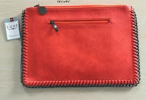 """New with Tags LUXE ACCESSORIES Orange Clutch Bag with metal edging 13.5"""" x 9.5"""""""