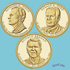 2016-D NIXON FORD REAGAN PRESIDENTIAL GOLDEN DOLLARS 3 COINS SET UNCIRCULATED