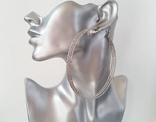 Gorgeous HUGE silver tone oversized patterned 3 row hoop earrings NEW Big & fab!