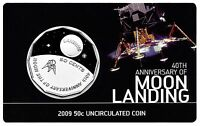 2009 Australia - Moon Landing 50c Coloured UNC Coin on Card