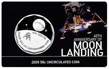 2009 Australia - Moon Landing 50c Coloured Uncirculated Coin on Card