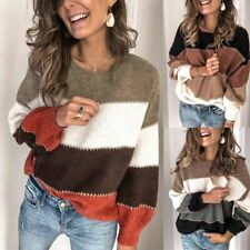 Women Fashion Knitted Sweaters Long Sleeve Striped Pullover Sweater