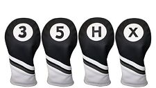 Majek Golf Headcover Black White Leather Style 3 5 X H Woods Hybrid Head Covers
