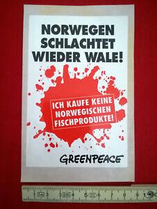 "Original Aufkleber ""GREENPEACE - Norwegen schlachtet wieder Wale!"" - TOP!"