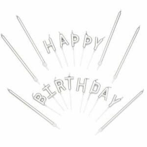 """37-Count Silver Long Thin Cake Candles with Holder & """"HAPPY BIRTHDAY"""" Letter"""