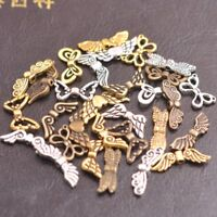 50Pcs Tibetan Silver Bronze Gold Angel Wings Spacer Charms Beads L57