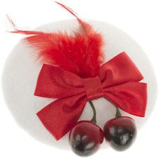Vintage MARLINE Cherries BOW Feather PILLBOX Hütchen Fascinator Rockabilly