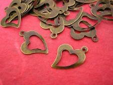 30pc antique bronze finish metal heart shape charms-613