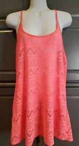 Victoria's Secret PINK Coral Lace Crochet Mesh Swim T Back Coverup Medium