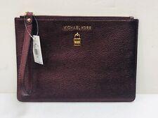 NWT Michael Kors Adele Extra Large Leather Zip Clutch/Wristlet merlot