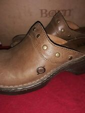 Born Womens Size 7/38 Brown Slip on Clog Mules Studded Leather
