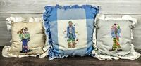 Vintage clown needlepoint cross-stitch Handmade Pillow lot set blue white