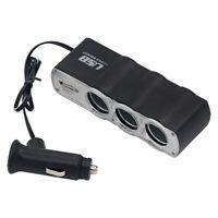 CAR CIGARETTE LIGHTER MULTI SOCKET SPLITTER 3 WAY USB CHARGER ADAPTER DC 12V Bol