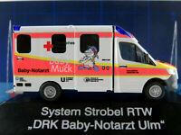 "Rietze 76216 System Strobel RTW MB Sprinter (2018) ""DRK Ulm / Baby-NA"" 1:87/H0"