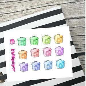 Recycle bin, Cute kawaii planner stickers, bin day, Bullet journal, Bujo #1108