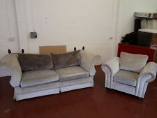 Two Piece Suite - Knoll Style Sofa by Vale Upholstery in Stone Crushed Velvet