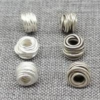 8 Thai Karen Hill Tribe Silver Wired Spacer Beads 6mm for Bracelet
