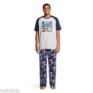 Men's Captain America 2Pc Sleep Set Navy/Heather Grey - Size XL