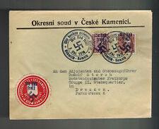 1938 Kamnitz Germany Sudetenland Provisional Cover to Dresden w Overprint Stamps